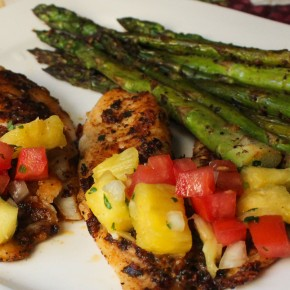 Tilapia with Pineapple-Pepper Relish and Maryland Crabcake Stuffed Mushrooms