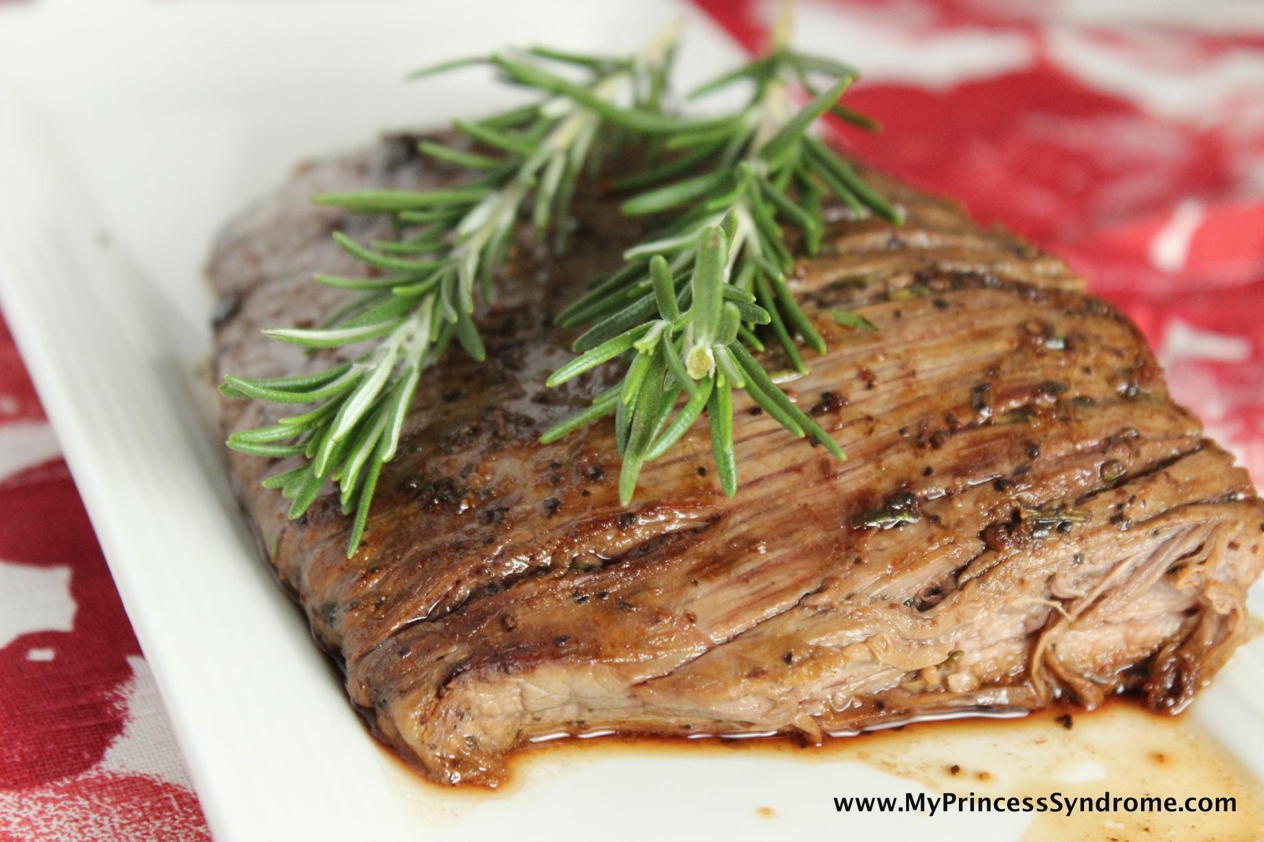 Rosemary Garlic Steak (and my CUTE new wine glass) |