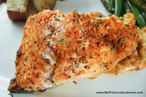 Seafood Stuffed Salmon and Rosemary Garlic Potatoes